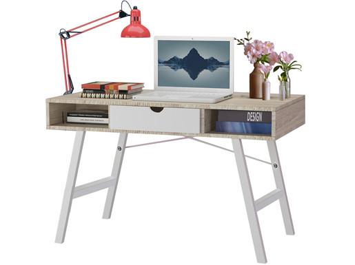Schreibtisch BELLA Breite 120cm in weiß und Eiche