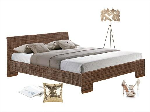 Bett CAPRI 140 cm aus Rattan in braun