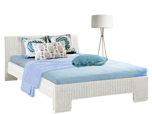 Bett CAPRI 140 cm aus Rattan in weiß