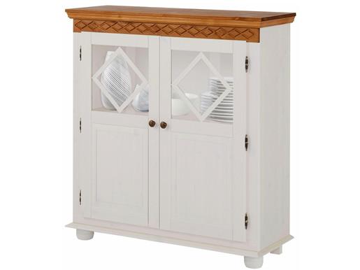 Schrank KAREN 2 Türen aus Kiefernholz in weiß & honig