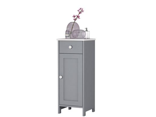 Badschrank ABBY aus Kiefer massiv in grau weiß lasiert