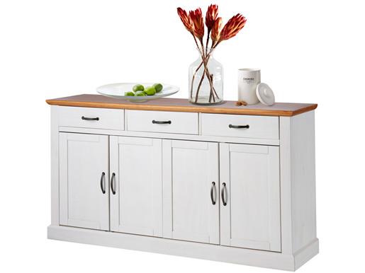 Sideboard MISCHA 4 Türen 160cm aus Kiefer massiv weiß &honig