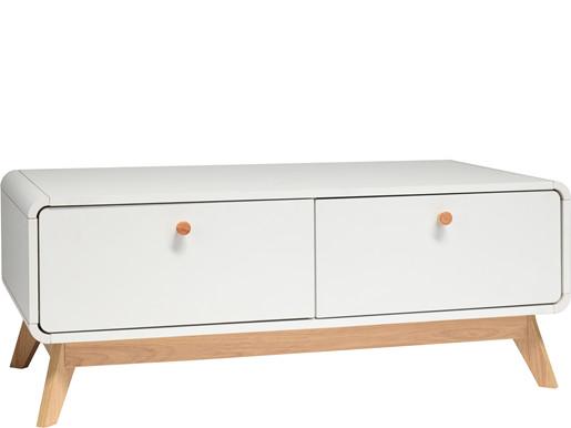 Kleines TV-Lowboard CARMEN mit 2 Schubladen, Weiß/Weiß