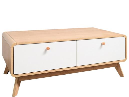 Kleines TV-Lowboard CARMEN mit 2 Schubladen, Eiche/Weiß