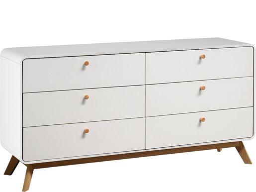 Kommode CARMEN mit 3+3 Schubladen in weiß/weiß