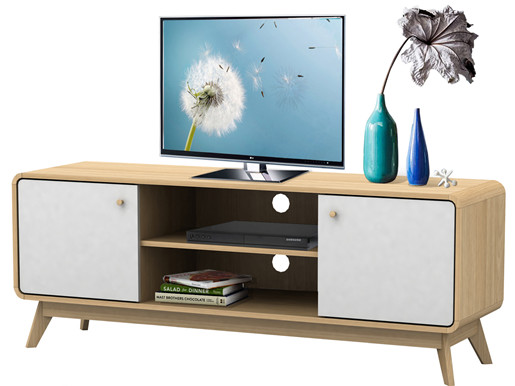 TV Lowboard CARMEN aus Spanplatte foliert in weiß und Natur