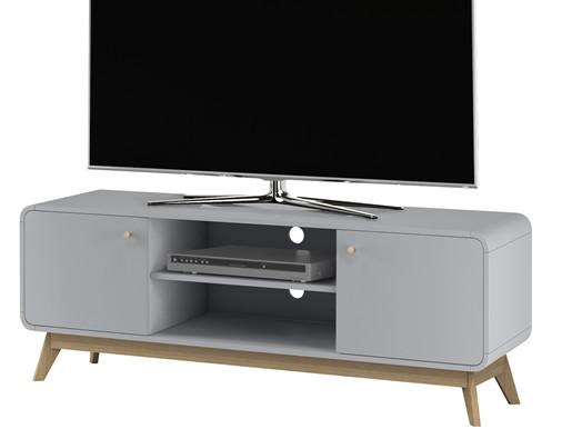 2-trg. TV-Lowboard CARMEN in grau/grau, Breite 140 cm