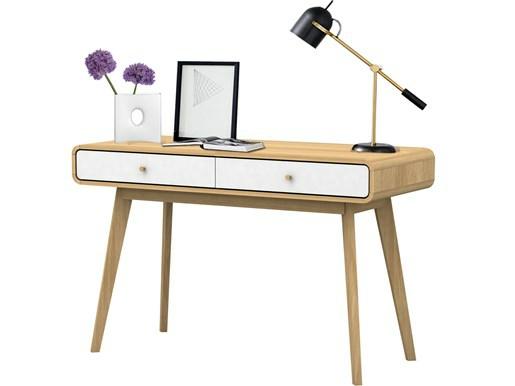 Schreibtisch CARMEN aus Spanplatte foliert in weiß und Natur