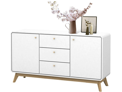 sideboard carmen aus spanplatte foliert in wei. Black Bedroom Furniture Sets. Home Design Ideas