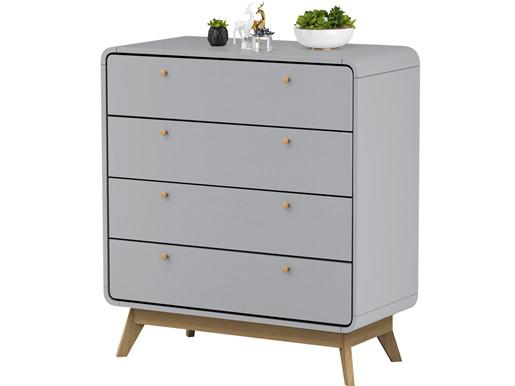Kommode CARMEN mit 4 Schubladen in grau, modernes Design