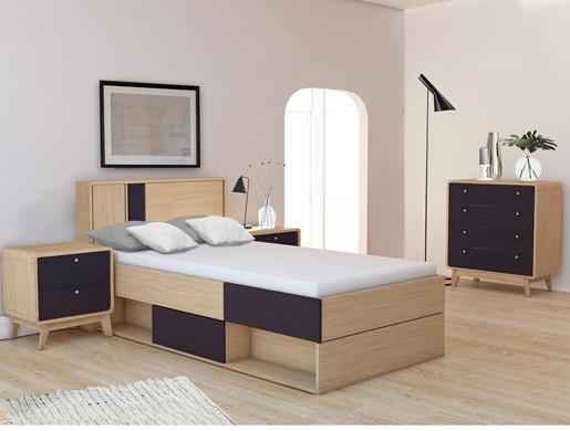 3-tlg. Schlafzimmer-Set CASSIE in schwarz/eiche