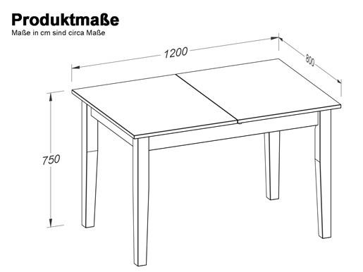 Ausziehbarer Esstisch TAVIAN Br. 120/160cm in honig & weiß