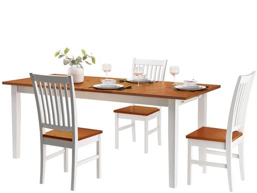 Ausziehbarer Esstisch TAVIAN 160-200 x 80 cm honig & weiß