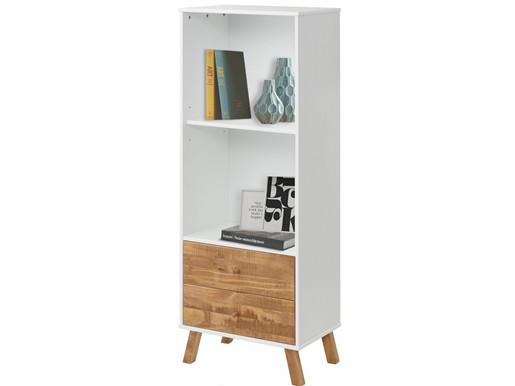 Bücherregal RADIN mit 2 Schubladen aus Kiefer massiv in weiß