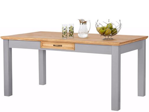 Esstisch SELINA aus Kiefer mit Schublade, 160 cm, grau