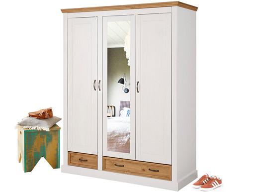 3-türiger Kleiderschrank SELINA mit Spiegel in weiß/gebeizt