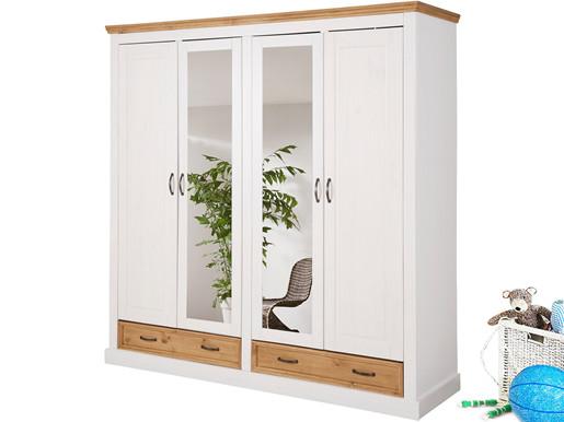4-türiger Kleiderschrank SELINA mit Spiegel in weiß/gebeizt
