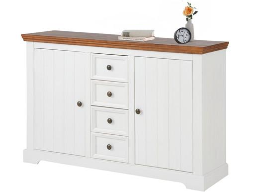 2-trg. Sideboard ANTON aus Kiefer in weiß/walnuss, 133 cm