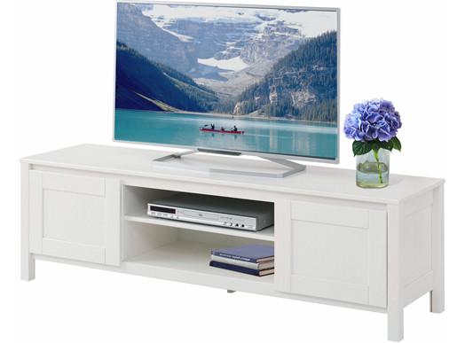2-trg. TV Lowboard KADIN aus Kiefer massiv in weiß, 150 cm