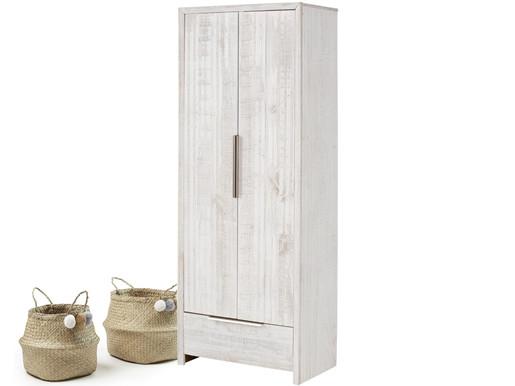 2-trg. Kleiderschrank AUSTIN aus Kiefer in weiß gebürstet