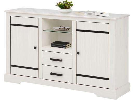 Sideboard LOVIS aus Kiefer massiv, Breite 135 cm in weiß