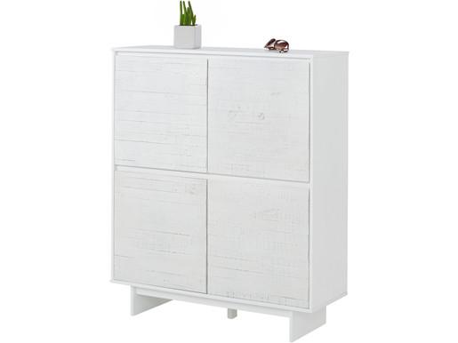 4-trg. Schrank MILLA aus Kiefer massiv in weiß, 120 cm breit