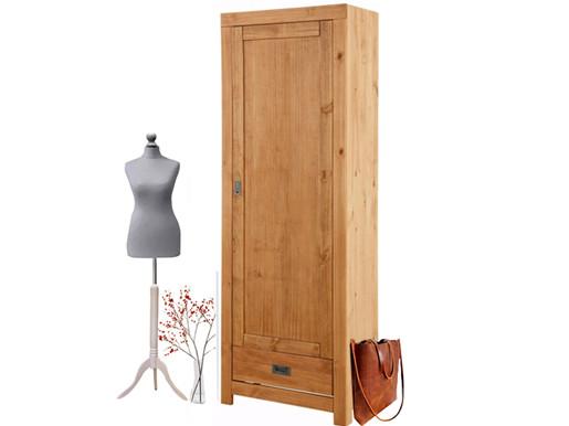 Garderobenschrank COSMO 1 Tür Kiefer massiv gebeizt geölt