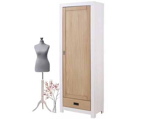 Garderobenschrank COSMO 1 Tür Kiefer massiv weiß/Noce hell