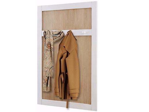 Garderobenpaneel COSMO 4 Haken Kiefer massiv weiß/Noce hell