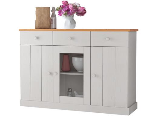 Sideboard CELINE 115cm drei Türen aus Kiefer in weiß & honig