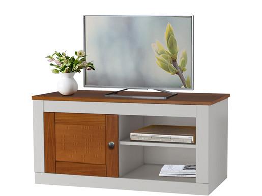 TV-Lowboard COZETTE mit 1 Tür aus Kiefer in weiß & honig
