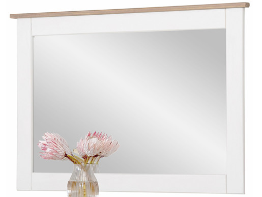 Spiegel COZETTE 90x60 cm aus Kiefernholz in weiß-grau