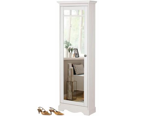 Schuhschrank MELIA mit Spiegeltür aus Kiefer massiv in weiß
