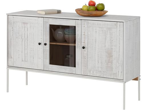 Sideboard FLORA 130 cm BreiteMassivholz in creme/weiß