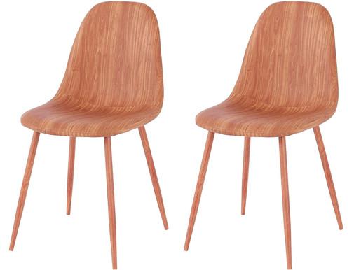 2er-Set Stühle BODO aus Kunstleder mit Metallbeinen, braun