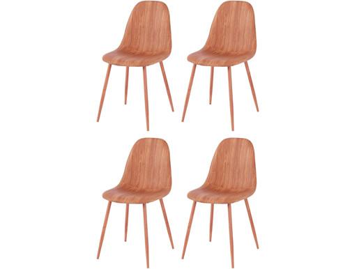 4er-Set Stühle BODO aus Kunstleder mit Metallbeinen in braun