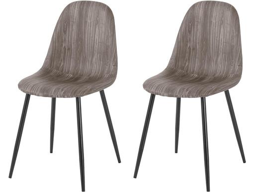 2er-Set Stühle BODO aus Kunstleder mit Metallbeinen in grau