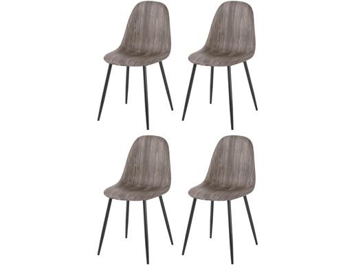 4er-Set Stühle BODO aus Kunstleder mit Metallbeinen in grau