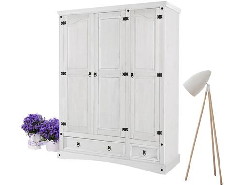 Großer Kleiderschrank MIGUEL mit 3 Türen in weiß lackiert