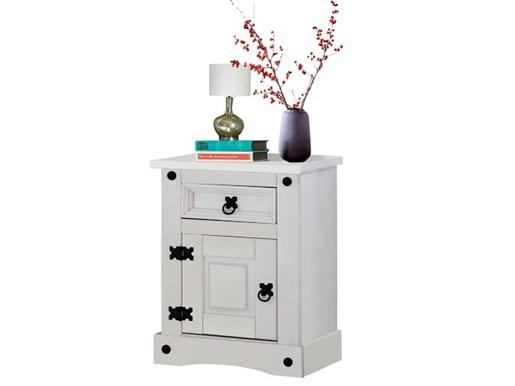Nachttisch MIGUEL aus Kiefer massiv in weiß lackiert