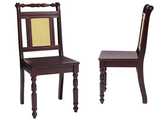 2er-Set Stühle KAREN aus Hevea-Holz in braun mit Rattan