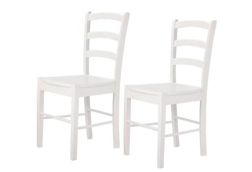 2er-Set Stühle TRENDY aus Hevea-Holz in weiß lackiert (Quer)