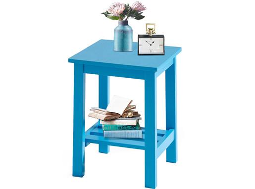 Beistelltisch TRENDY aus MDF & Hevea-Holz in blau