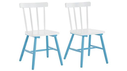 2er-Set Stühle TRENDY aus Massivholz in weiß/blau