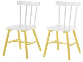 2er Set Stühle TRENDY aus Massivholz in weiß und gelb