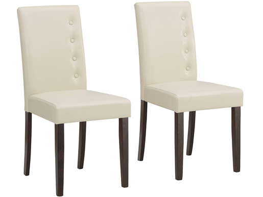 2er-Set Esszimmerstühle BELA mit Kunstlederbezug in creme