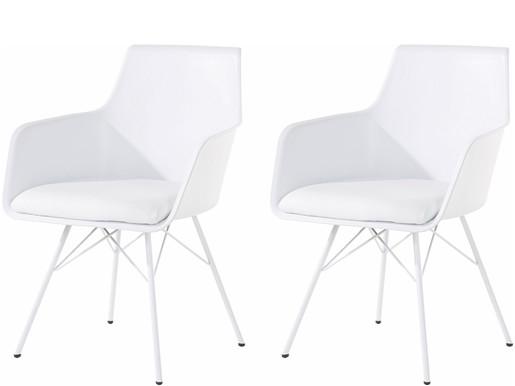 2er-Set Stuhl ALVIN mit Kunstleder und Metallgestell in weiß