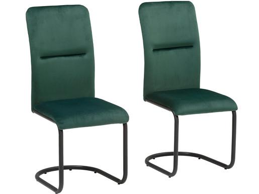 2er-Set Esszimmerstühle FRED mit Samtbezug in petrol