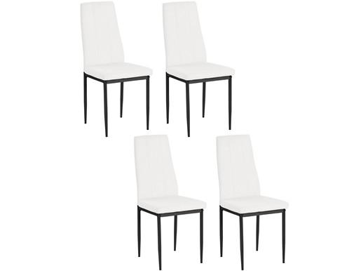4er-Set Esszimmerstühle KENNY Kunstleder Bezug in weiß