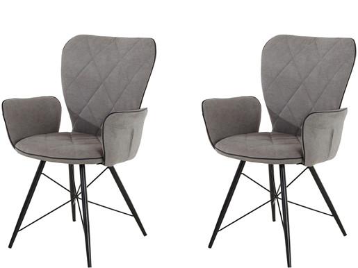 2er-Set Stuhl VIRGO gepolstert aus Polyester in hellgrau
